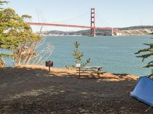 Camping with view of Golden Gate Bridge