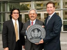 John Noguchi, Director, Convention Facilities Department, City & County of San Francisco, San Francisco Mayor Edwin M. Lee and Joe D'Alessandro, president and CEO of the San Francisco Travel Association celebrate the achievement of LEED Gold status for Moscone Center's North and South buildings.