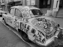 Vintage Car Covered in Art