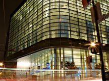 Moscone Center West at night