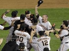 San Francisco Giants celebrating a World Series victory