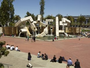 The Vaillancourt Fountain in Justin Herman Plaza on the Embarcadero